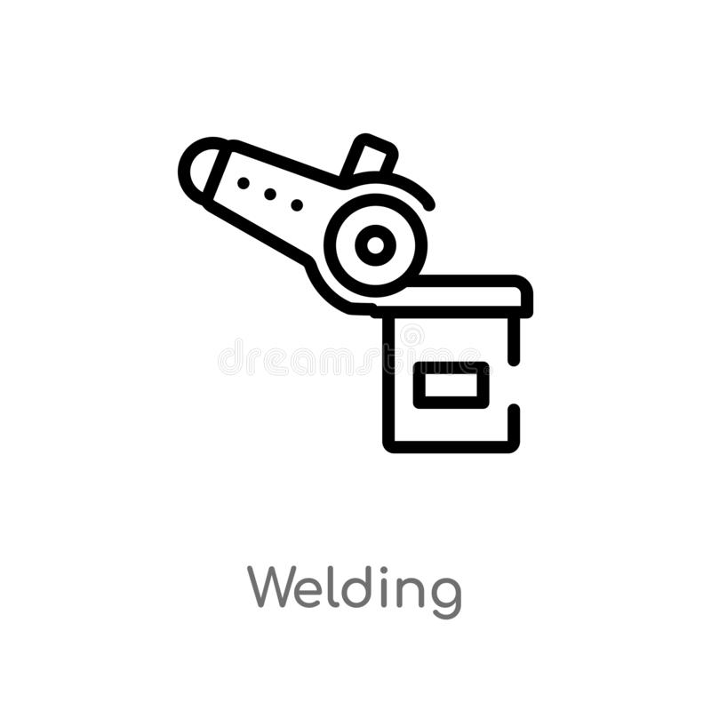 kontur spawalnicza wektorowa ikona odosobniona czarna prosta kreskowego elementu ilustracja od przemys?u poj?cia editable wektoro ilustracja wektor