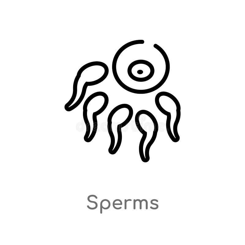 kontur sperma wektoru ikona odosobniona czarna prosta kreskowego elementu ilustracja od cia?o ludzkie cz??ci poj?cia Editable wek ilustracja wektor