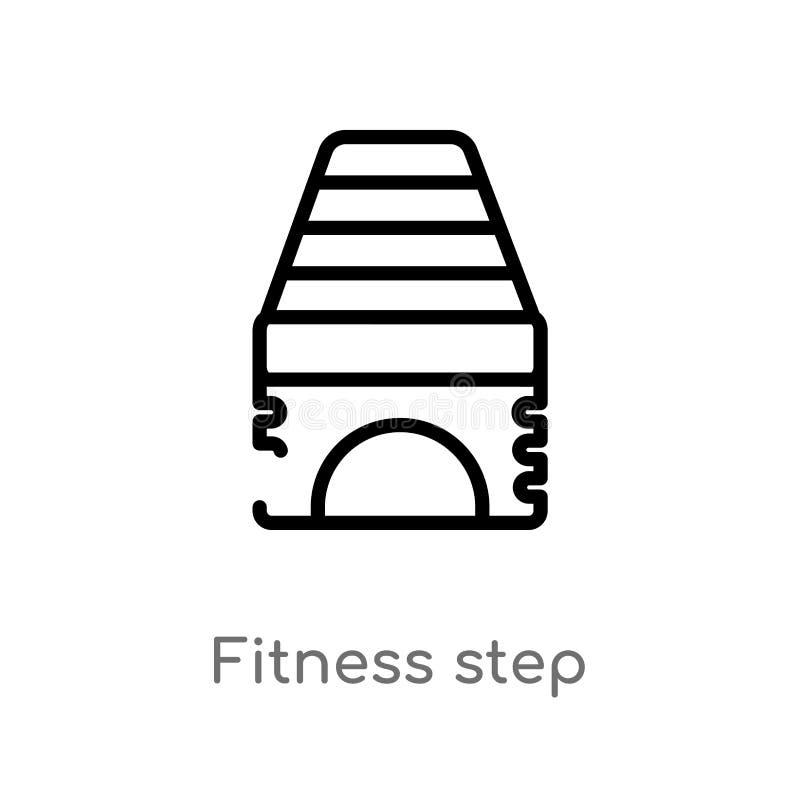 kontur sprawno?ci fizycznej kroka wektoru ikona odosobniona czarna prosta kreskowego elementu ilustracja od gym i sprawno?ci fizy ilustracji