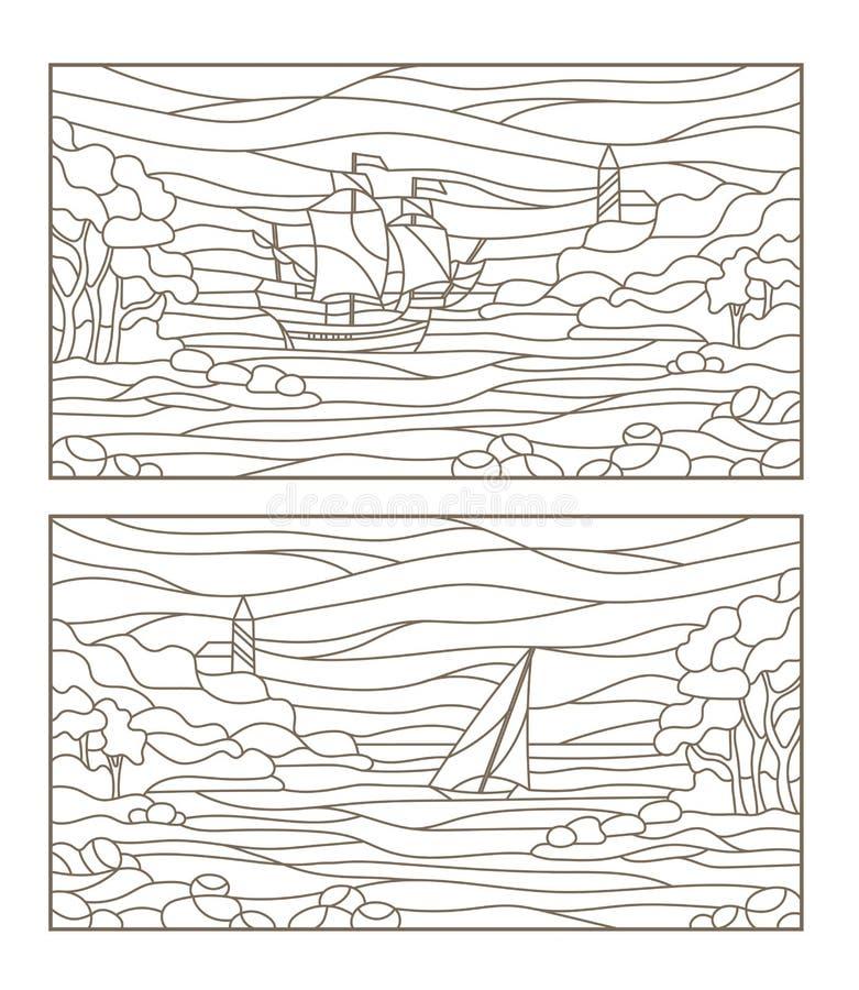 Kontur stellte mit Illustrationen von Buntglasmeerblicken, von Segelschiff und von Leuchtturm in der felsigen Bucht auf dem Hinte vektor abbildung