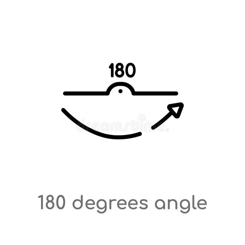 kontur 180 stopni k?ta wektoru ikony odosobniona czarna prosta kreskowego elementu ilustracja od kszta?ta poj?cia Editable wektor royalty ilustracja
