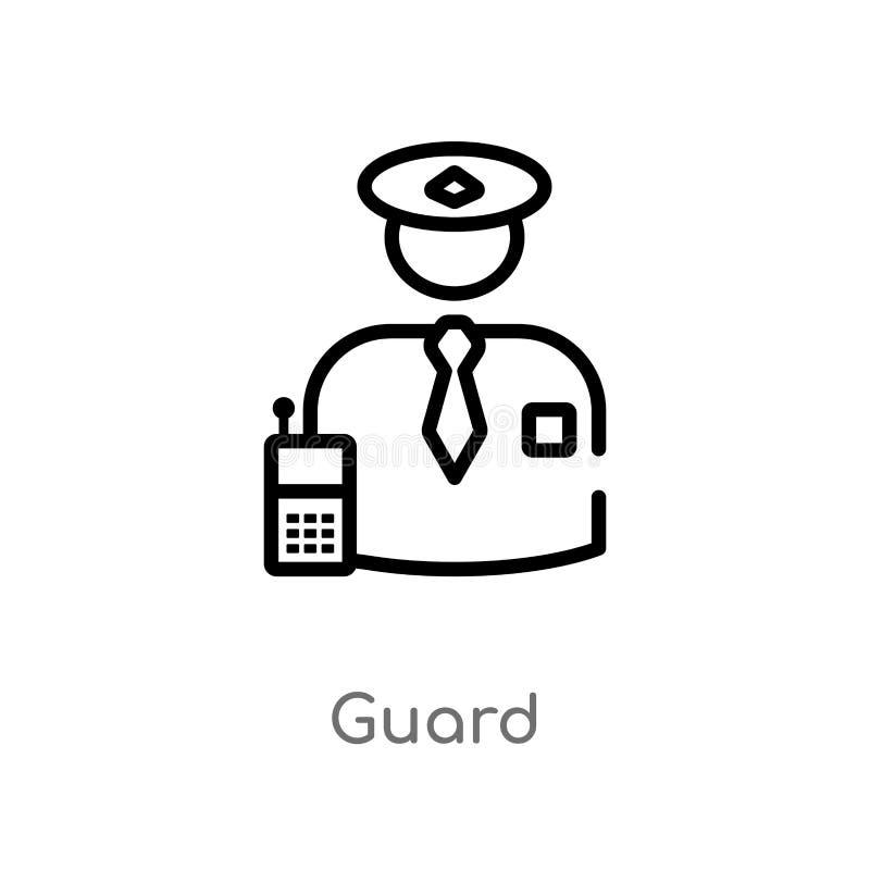 kontur strażowa wektorowa ikona odosobniona czarna prosta kreskowego elementu ilustracja od etyki poj?cia editable wektorowa uder ilustracji