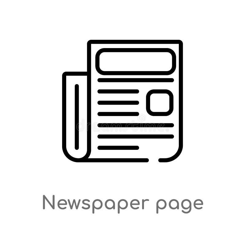 kontur strony wektoru gazetowa ikona odosobniona czarna prosta kreskowego elementu ilustracja od biznesowego pojęcia Editable wek royalty ilustracja