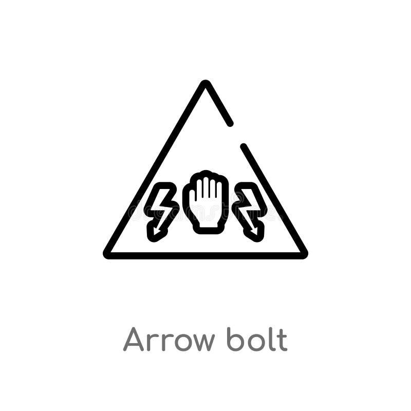 kontur strzały rygla wektoru ikona odosobniona czarna prosta kreskowego elementu ilustracja od znaka poj?cia editable wektorowa u ilustracja wektor