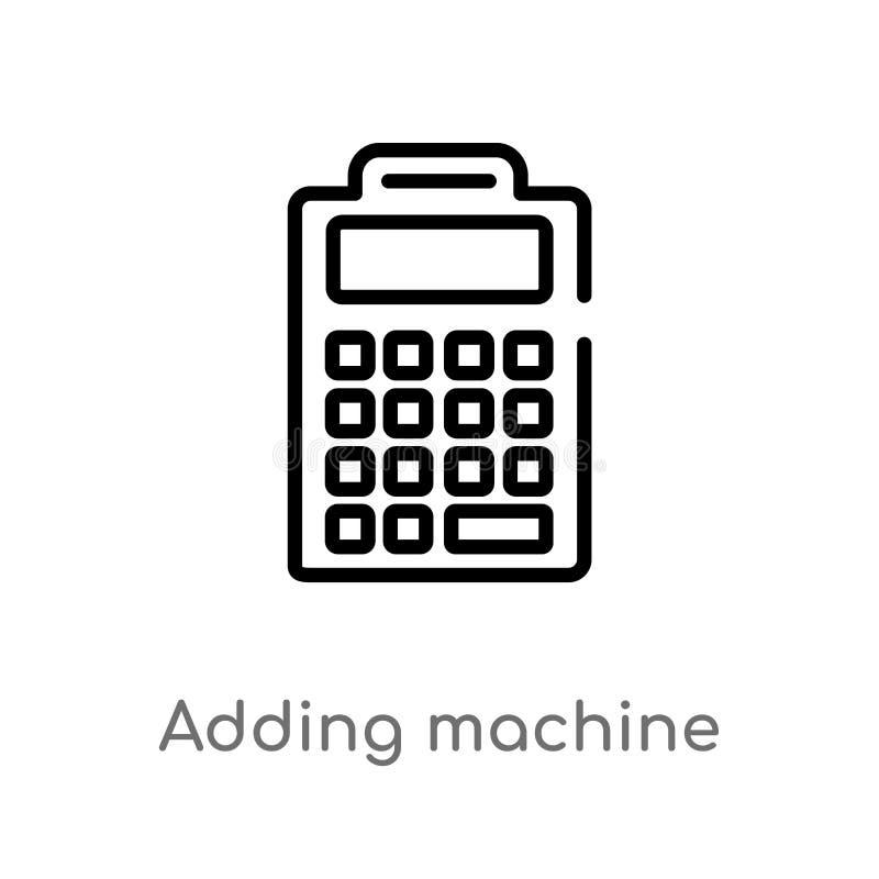 kontur sumującej maszyny wektoru ikona odosobniona czarna prosta kreskowego elementu ilustracja od edukacji pojęcia Editable wekt ilustracji
