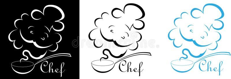 Kontur szef kuchni od smaku karmowy szefa kuchni logo ilustracja wektor
