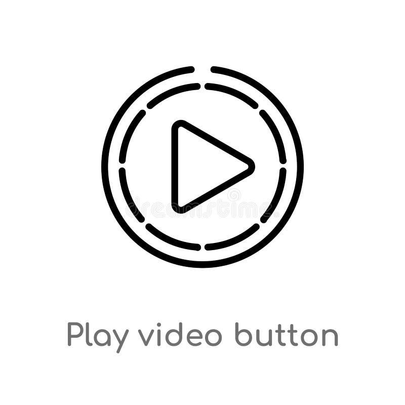 kontur sztuki guzika wektoru wideo ikona odosobniona czarna prosta kreskowego elementu ilustracja od interfejs u?ytkownika poj?ci ilustracja wektor