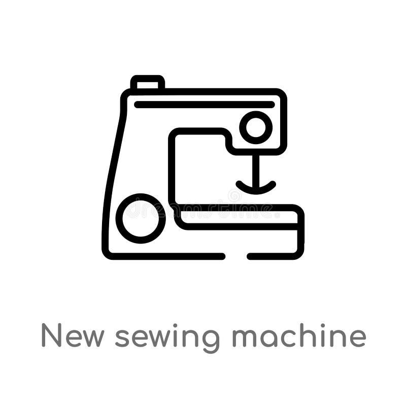 kontur szwalnej maszyny wektoru nowa ikona odosobniona czarna prosta kreskowego elementu ilustracja od szy poj?cie Editable wekto ilustracji