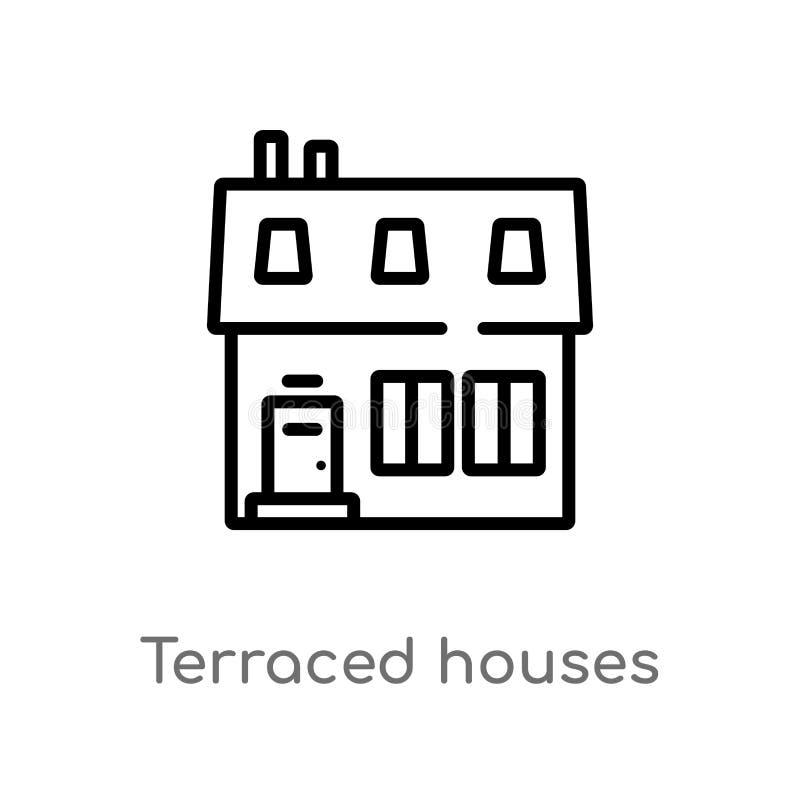 kontur tarasujący mieści wektorową ikonę odosobniona czarna prosta kreskowego elementu ilustracja od budynku pojęcia Editable wek ilustracja wektor