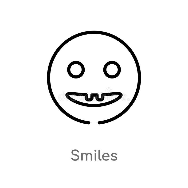 kontur uśmiecha się wektorową ikonę odosobniona czarna prosta kreskowego elementu ilustracja od interfejs użytkownika pojęcia Edi royalty ilustracja