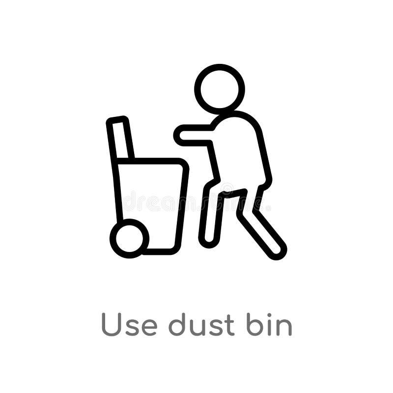 kontur używa pyłu kosza wektoru ikonę odosobniona czarna prosta kreskowego elementu ilustracja od map i flagi pojęcia Editable we ilustracja wektor