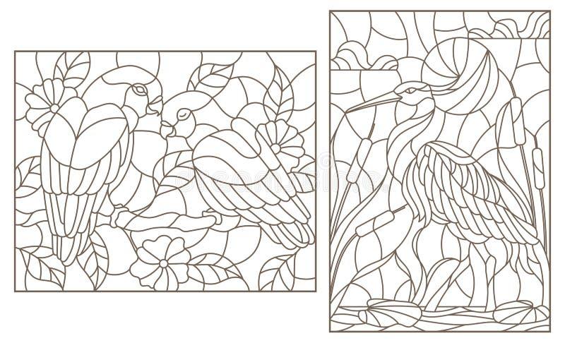 Kontur ustawia z ilustracjami z ptakami, czaplą i parą papug lovebirds, zmrok kontury na białym tle ilustracji