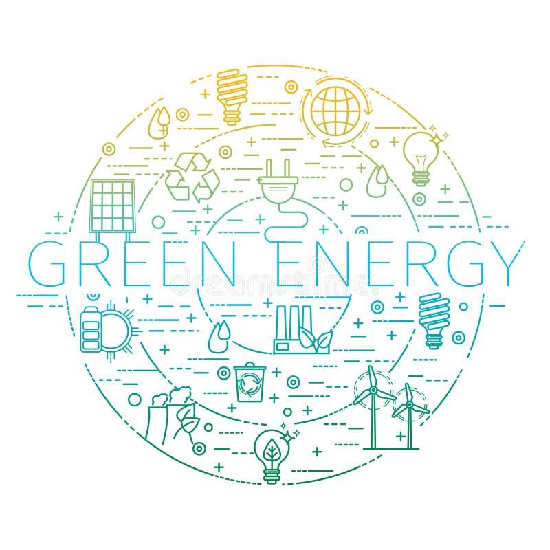 Kontur ustawiający - zielona energia, eco, przetwarza ikony royalty ilustracja