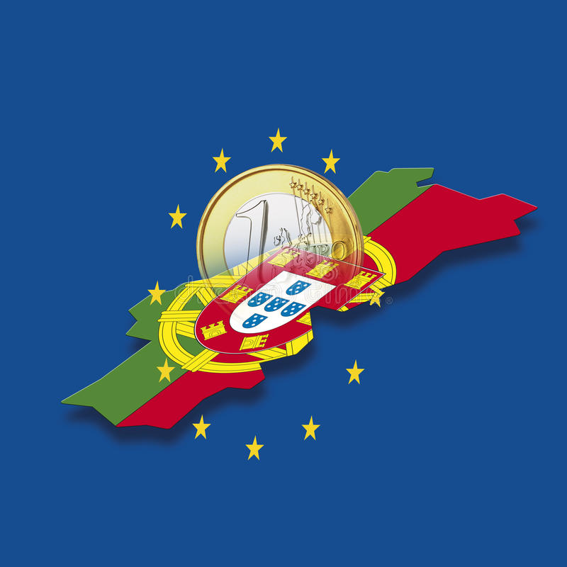 Kontur von Portugal mit Sternen der Europäischen Gemeinschaft und von Euromünze gegen blauen Hintergrund, digitale Zusammensetzun vektor abbildung