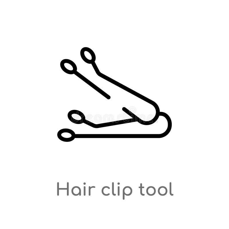 kontur włosianej klamerki narzędzia wektoru ikona odosobniona czarna prosta kreskowego elementu ilustracja od kobiety ubraniowego ilustracji