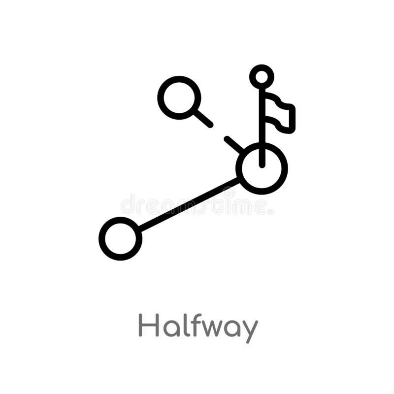 kontur w połowie wektorowa ikona odosobniona czarna prosta kreskowego elementu ilustracja od edukacji poj?cia Editable wektorowy  ilustracji