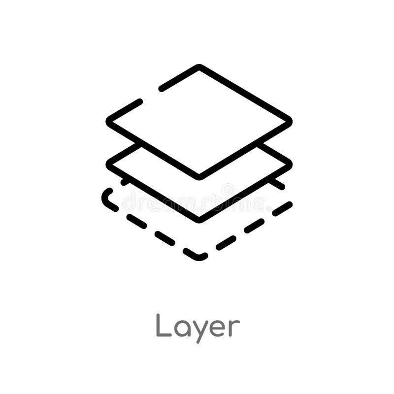 kontur warstwy wektoru ikona odosobniona czarna prosta kreskowego elementu ilustracja od geometrii poj?cia editable wektorowa ude ilustracja wektor