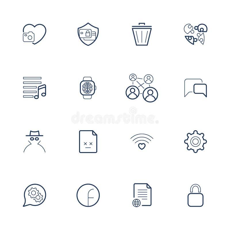 Kontur wektorowe ikony dla sieci i wisz?cej ozdoby Editable uderzenie Ikony ustawiać z różnymi ikonami serce, kosz, kędziorek, pr ilustracja wektor