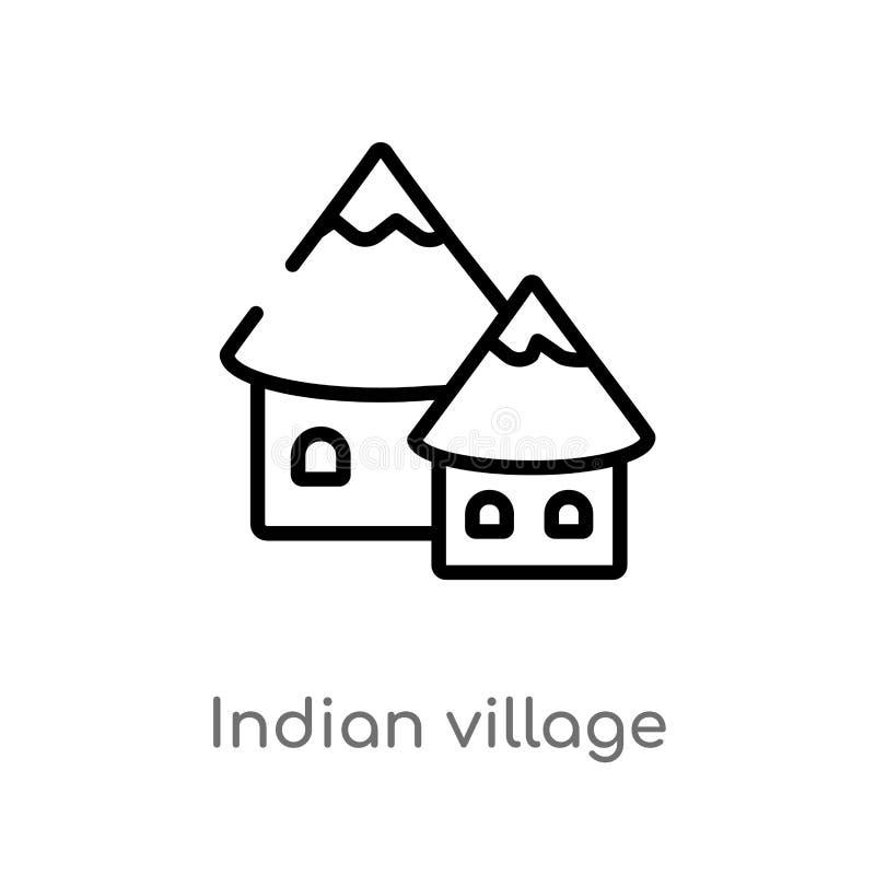 kontur wioski wektoru indyjska ikona odosobniona czarna prosta kreskowego elementu ilustracja od kultury pojęcia Editable wektoro ilustracji
