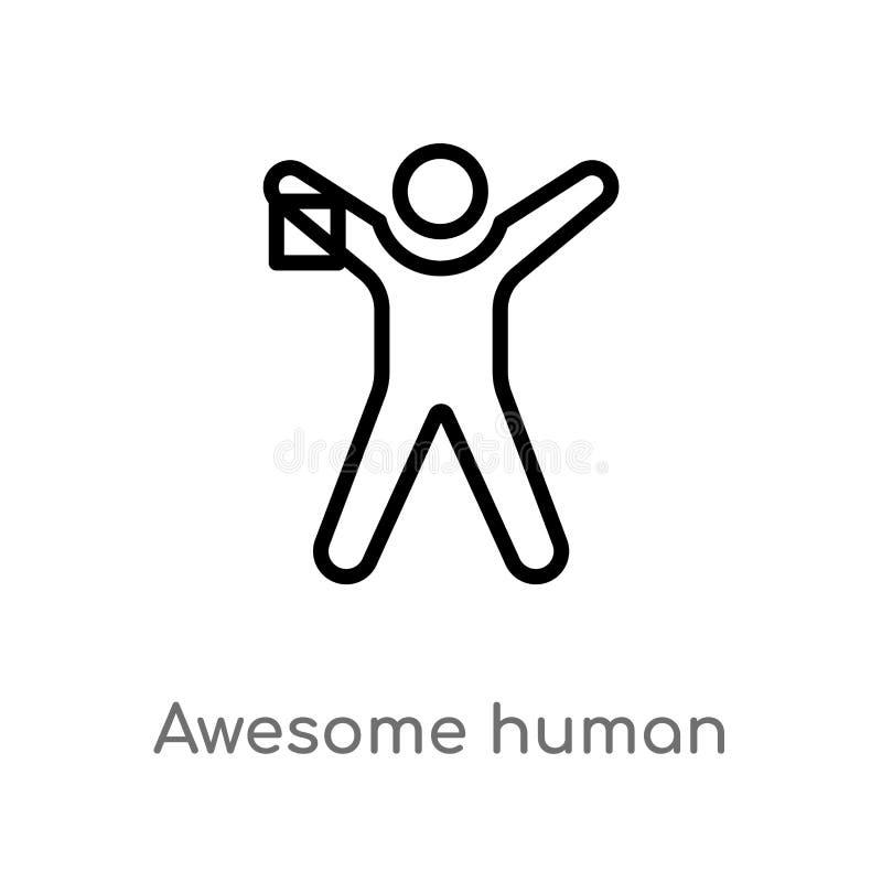 kontur wspania?a ludzka wektorowa ikona odosobniona czarna prosta kreskowego elementu ilustracja od uczucia poj?cia Editable wekt royalty ilustracja