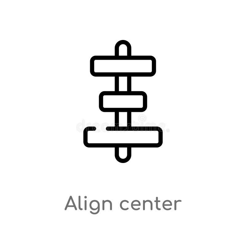 kontur wyrównuje centrum wektorową ikonę odosobniona czarna prosta kreskowego elementu ilustracja od znaka poj?cia editable wekto royalty ilustracja