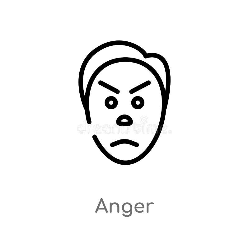 kontur złości wektoru ikona odosobniona czarna prosta kreskowego elementu ilustracja od u?ytkownika poj?cia editable wektorowa ud ilustracji
