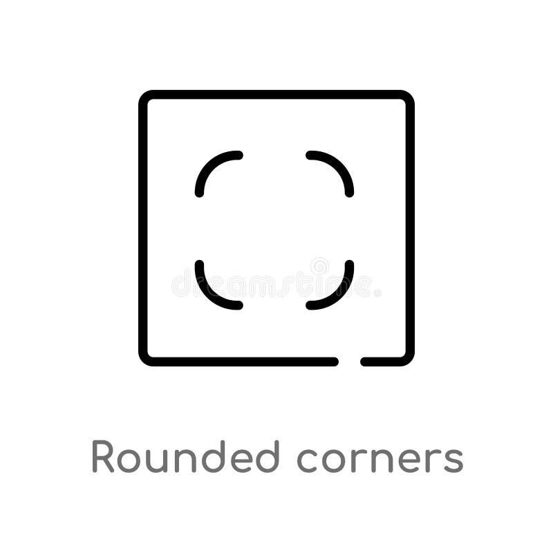 kontur zaokr?glaj?ca k?t kwadratowa wektorowa ikona odosobniona czarna prosta kreskowego elementu ilustracja od interfejs u?ytkow ilustracji