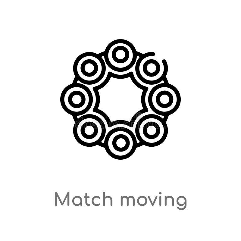 kontur zapałczana poruszająca wektorowa ikona odosobniona czarna prosta kreskowego elementu ilustracja od sztucznego intellegence ilustracji