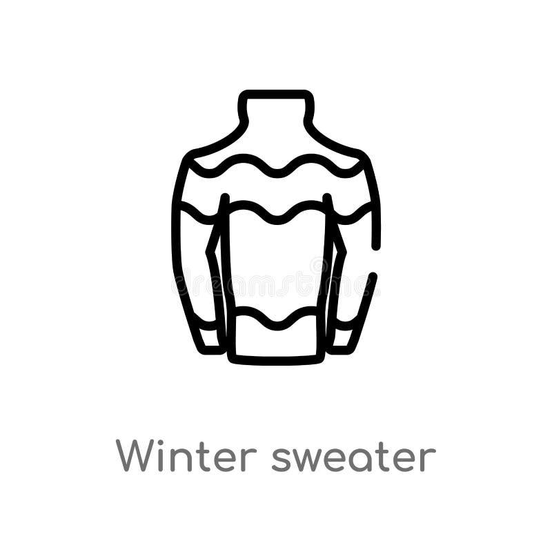 kontur zimy puloweru wektoru ikona odosobniona czarna prosta kreskowego elementu ilustracja od bo?ego narodzenia poj?cia Editable royalty ilustracja
