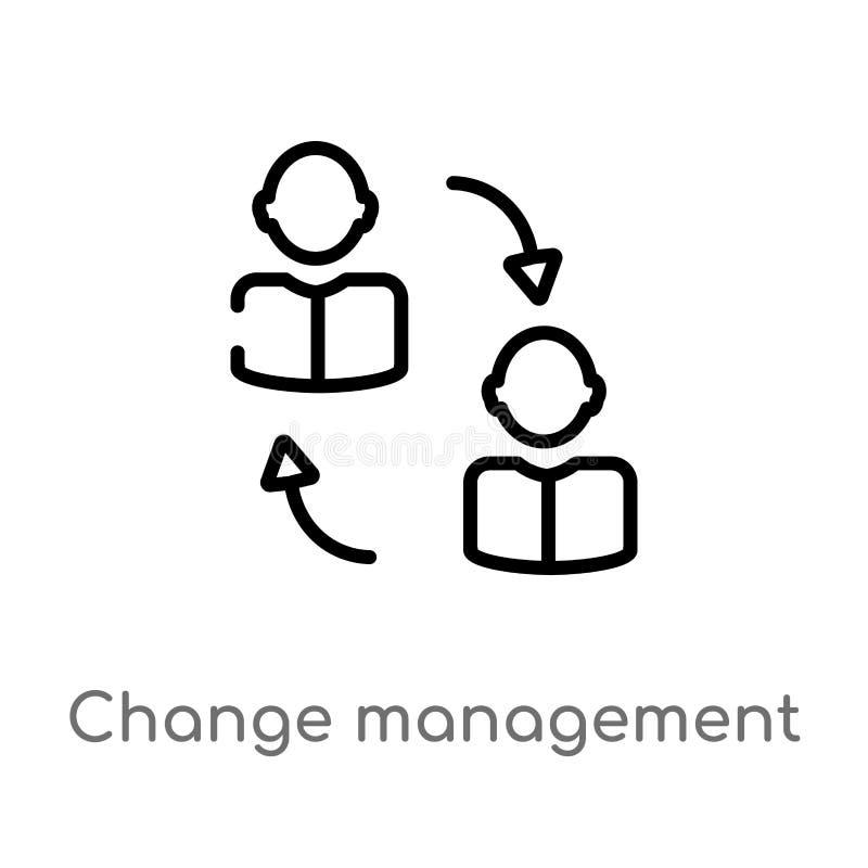 kontur zmiany zarządzania wektoru ikona odosobniona czarna prosta kreskowego elementu ilustracja od dział zasobów ludzkich pojęci royalty ilustracja