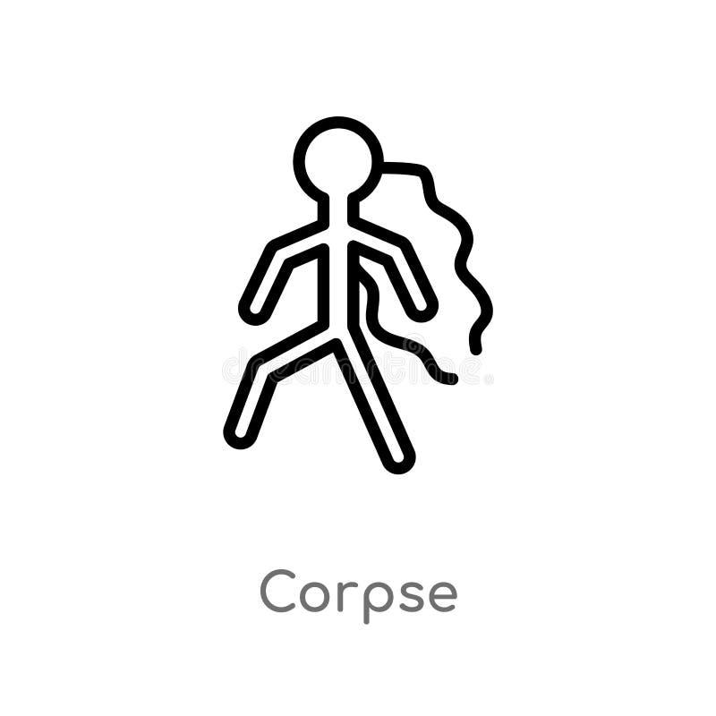 kontur zwłoki wektoru ikona odosobniona czarna prosta kreskowego elementu ilustracja od prawa i sprawiedliwości pojęcia Editable  royalty ilustracja