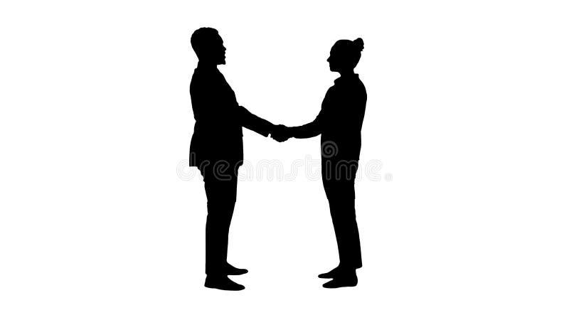 Konturaffärsfolk att möta och skaka händer arkivfoton