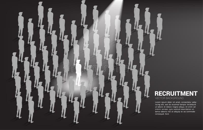 Konturaffärsman i fläckljus i folkmassan av folk vektor illustrationer