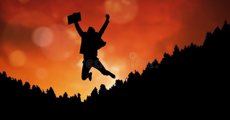 Konturaffärsman i midair mot orange himmel arkivfoton