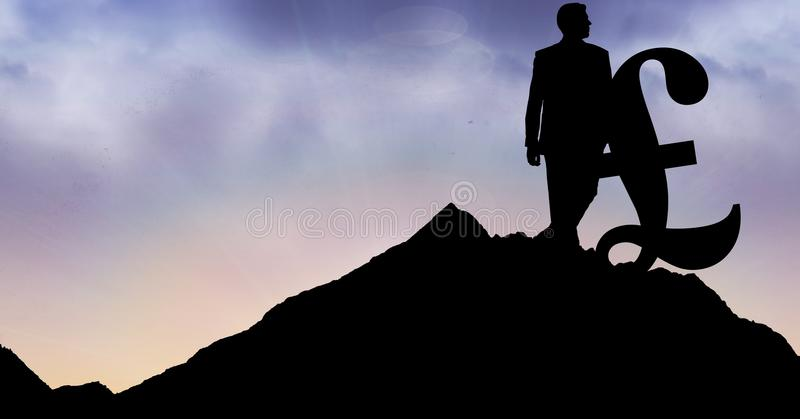 Konturaffärsman med pundtecknet på berget mot himmel royaltyfri bild