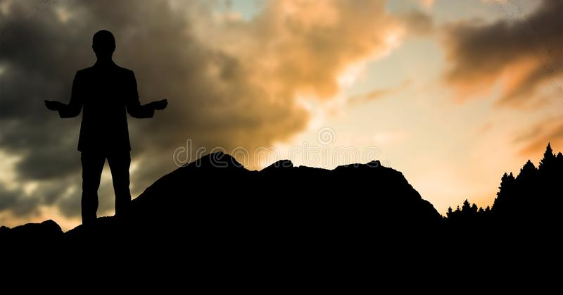 Konturaffärsmananseende på kullen mot himmel under solnedgång vektor illustrationer