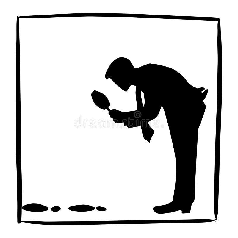 Konturaffärsmannen som söker eller ser fotspårvektorillustrationen, skissar klotterhanden som dras som isoleras på den vita fyrka stock illustrationer