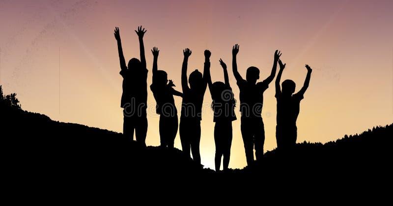 Konturbarn med händer lyftte på berget under solnedgång vektor illustrationer