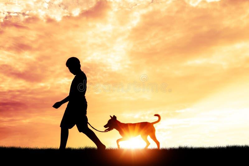 Konturbarn som spelar med hundkapplöpning arkivfoto