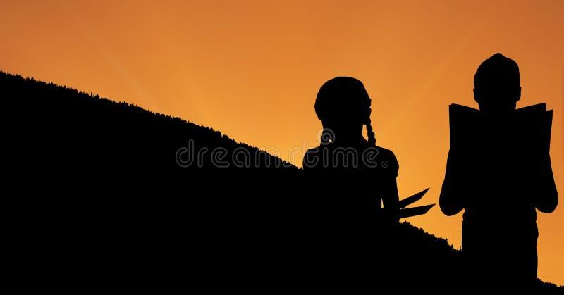 Konturbarnläseböcker på kullen under solnedgång royaltyfri illustrationer