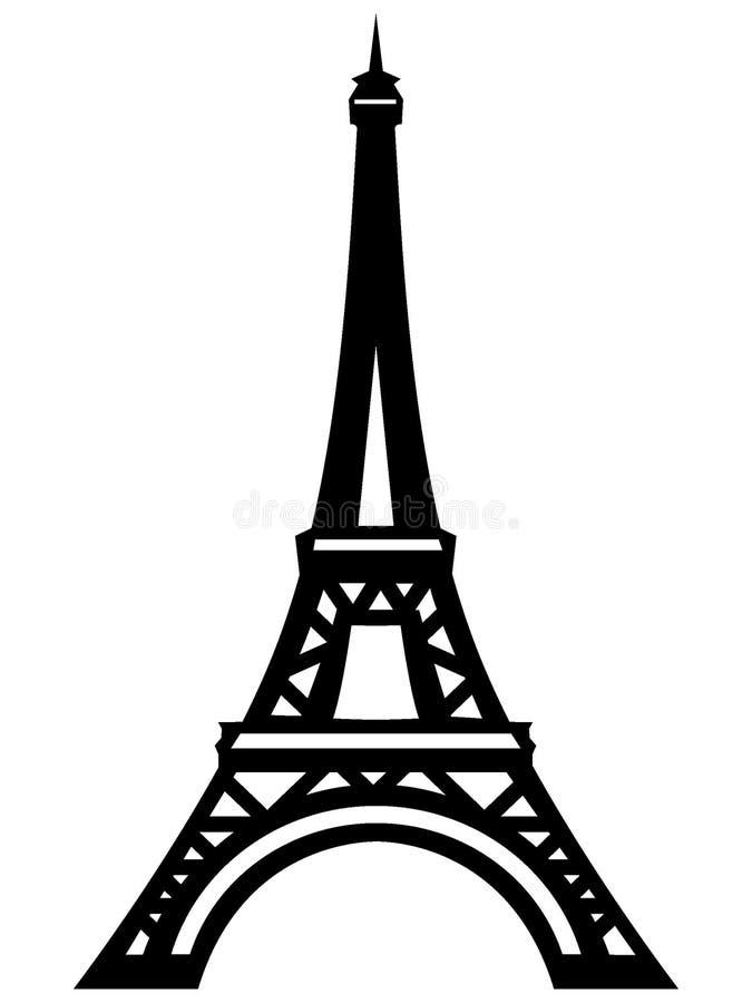 Konturbild av Eiffeltorn royaltyfri illustrationer