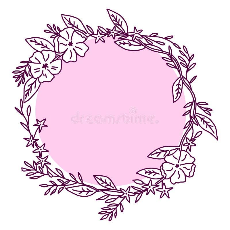 Konturblomma, blomma, dekorativ blomma, isolerad blomma stock illustrationer