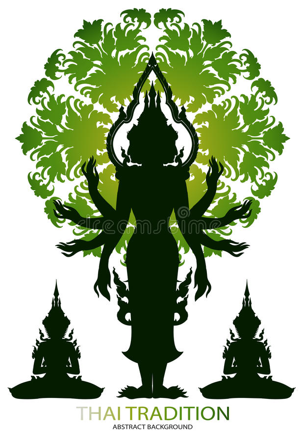 KonturBrahma rama och thai tradition royaltyfri illustrationer