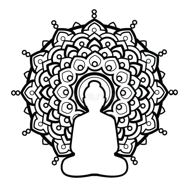 KonturBuddha över utsmyckad mandalarundamodell Indier buddism, andlig konst royaltyfri illustrationer