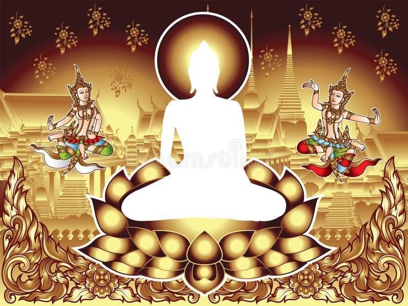 KonturBuddha Siddhartha Gautama och två Angeles med den forntida ramen och templet, blommabakgrund vektor illustrationer