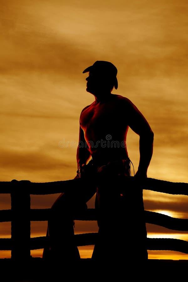 Konturcowboy ingen skjorta royaltyfria bilder