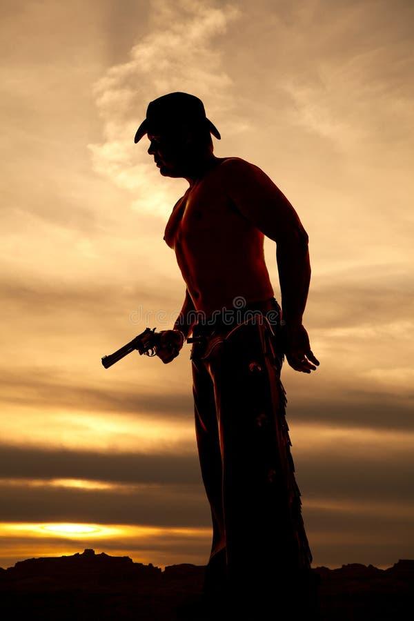 Konturcowboy ingen skjortahållpistol på midjan arkivbild