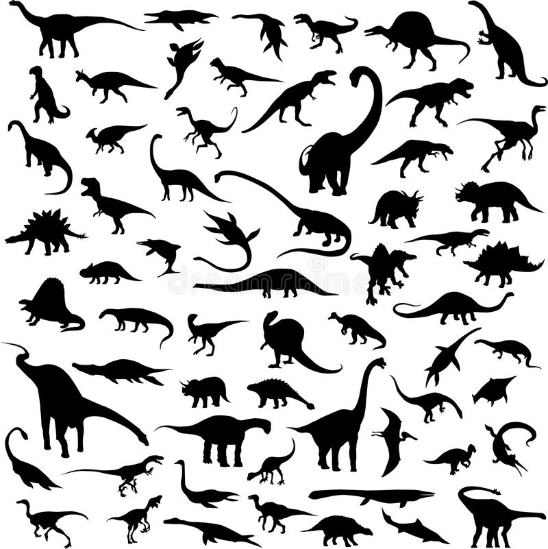 konturdinosaursilhouette royaltyfri illustrationer