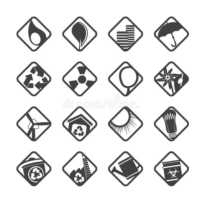 Konturekologisymboler - ställ in för rengöringsdukapplikationer royaltyfri illustrationer