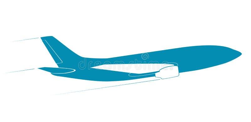 Konturen av det moderna strålflygplanet Slapp fokus I flyg vektor illustrationer